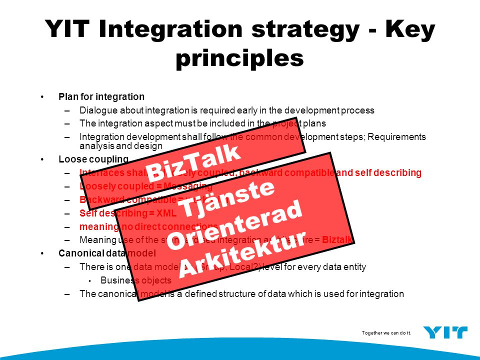 YIT Integration strategy - Key principles