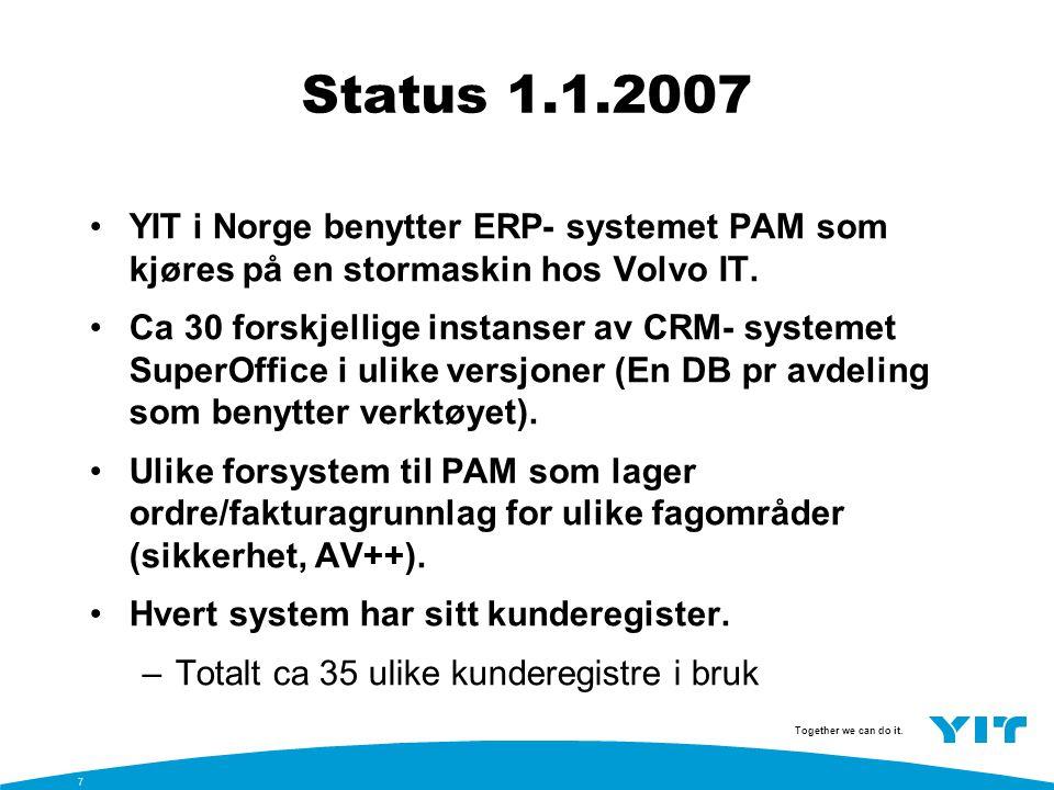 Status 1.1.2007 YIT i Norge benytter ERP- systemet PAM som kjøres på en stormaskin hos Volvo IT.