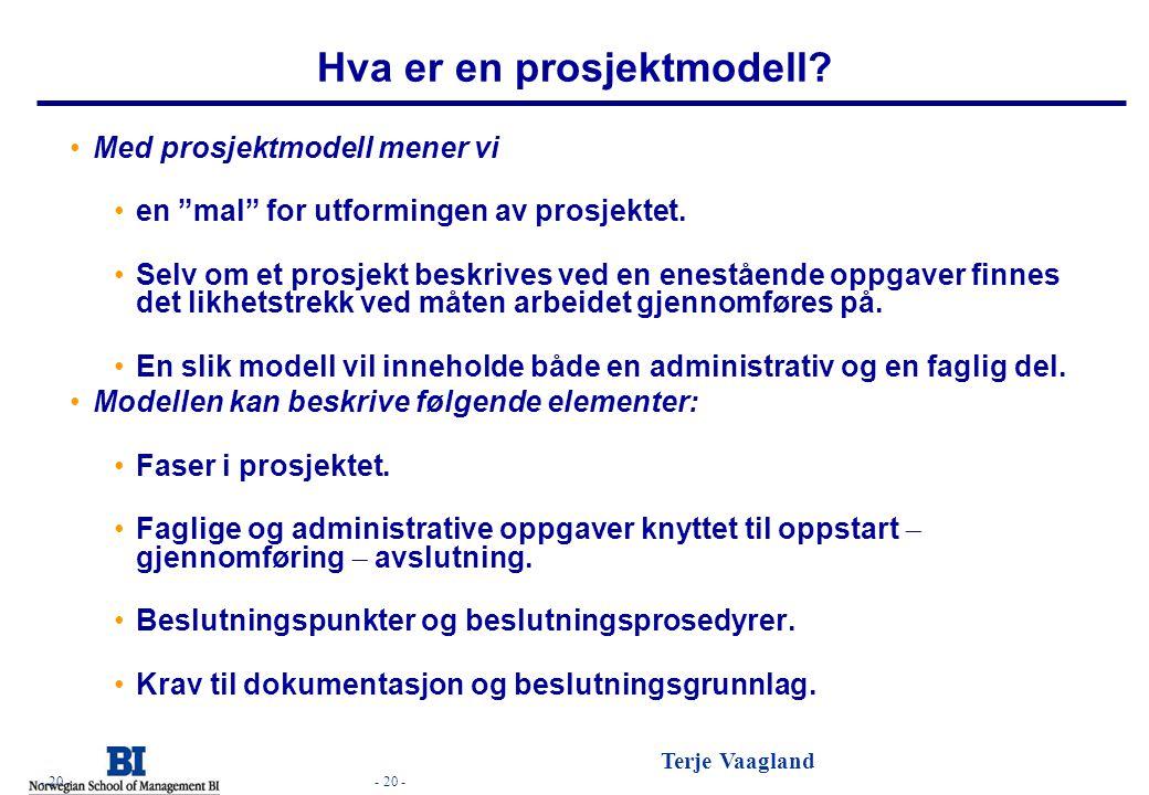 Hva er en prosjektmodell