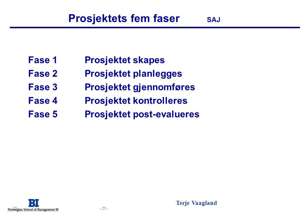 Prosjektets fem faser SAJ