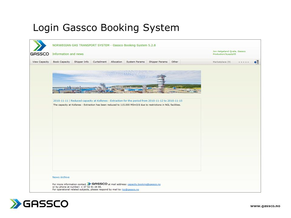 Login Gassco Booking System
