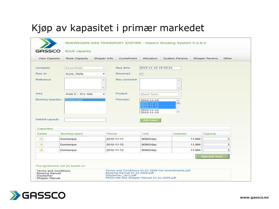 Kjøp av kapasitet i primær markedet