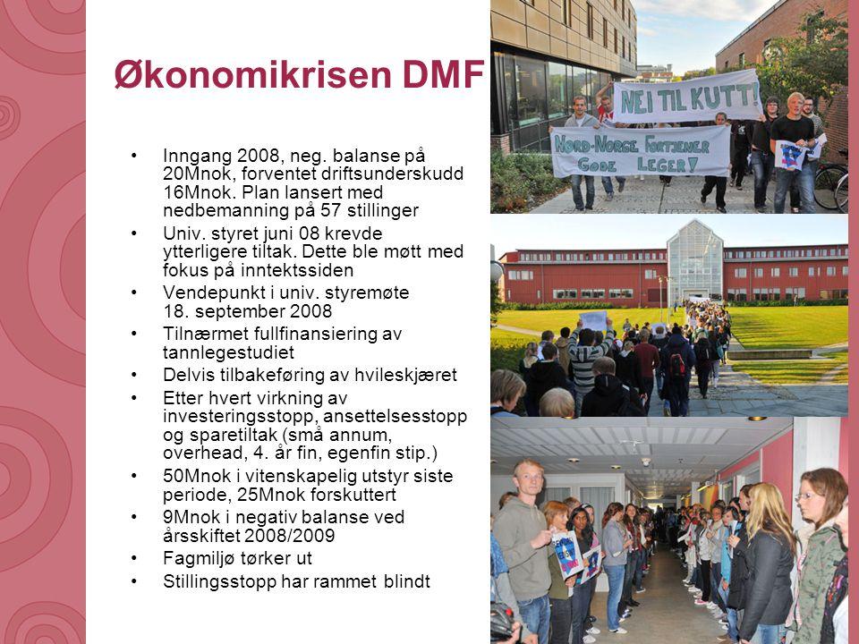 Økonomikrisen DMF Inngang 2008, neg. balanse på 20Mnok, forventet driftsunderskudd 16Mnok. Plan lansert med nedbemanning på 57 stillinger.