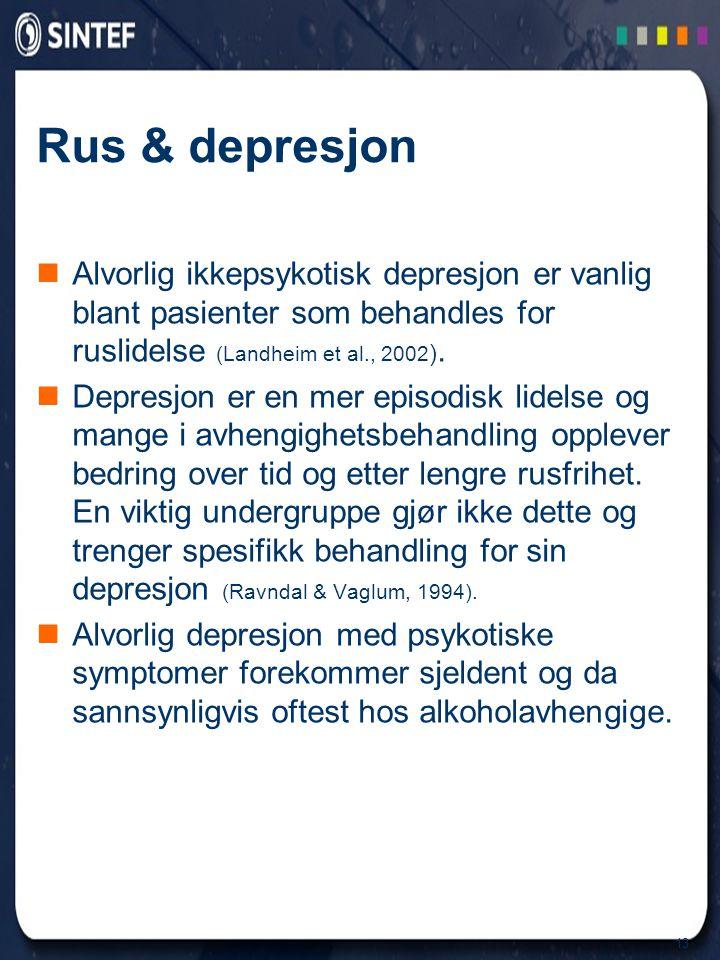Rus & depresjon Alvorlig ikkepsykotisk depresjon er vanlig blant pasienter som behandles for ruslidelse (Landheim et al., 2002).