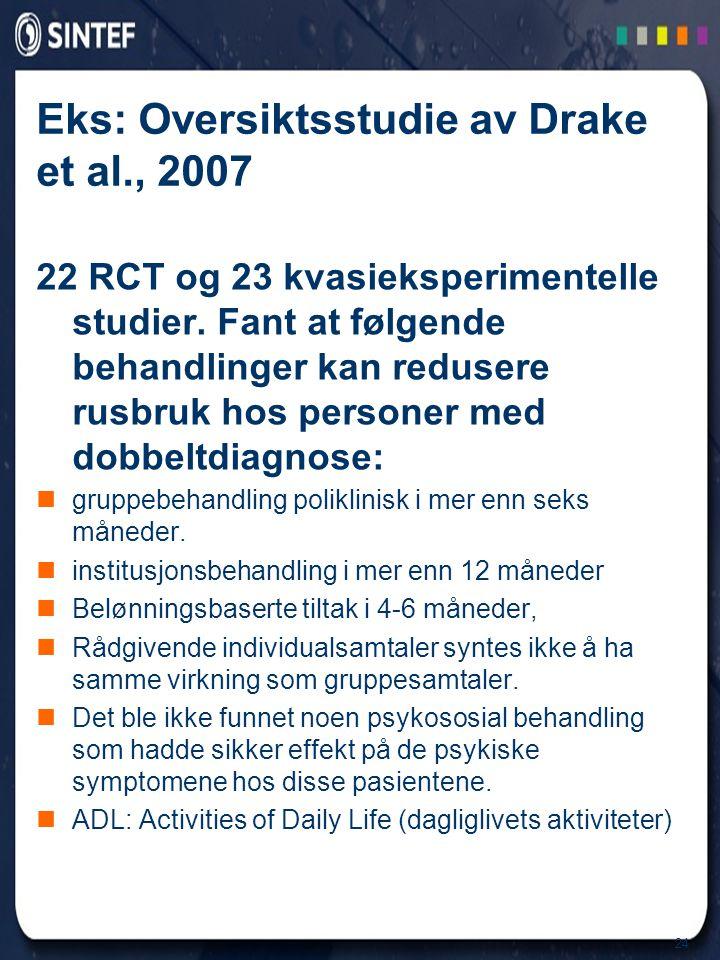 Eks: Oversiktsstudie av Drake et al., 2007