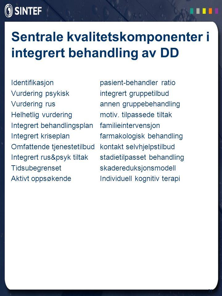 Sentrale kvalitetskomponenter i integrert behandling av DD