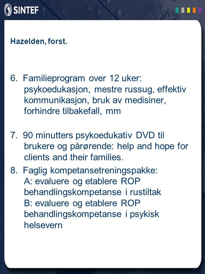 Hazelden, forst. 6. Familieprogram over 12 uker: psykoedukasjon, mestre russug, effektiv kommunikasjon, bruk av medisiner, forhindre tilbakefall, mm.