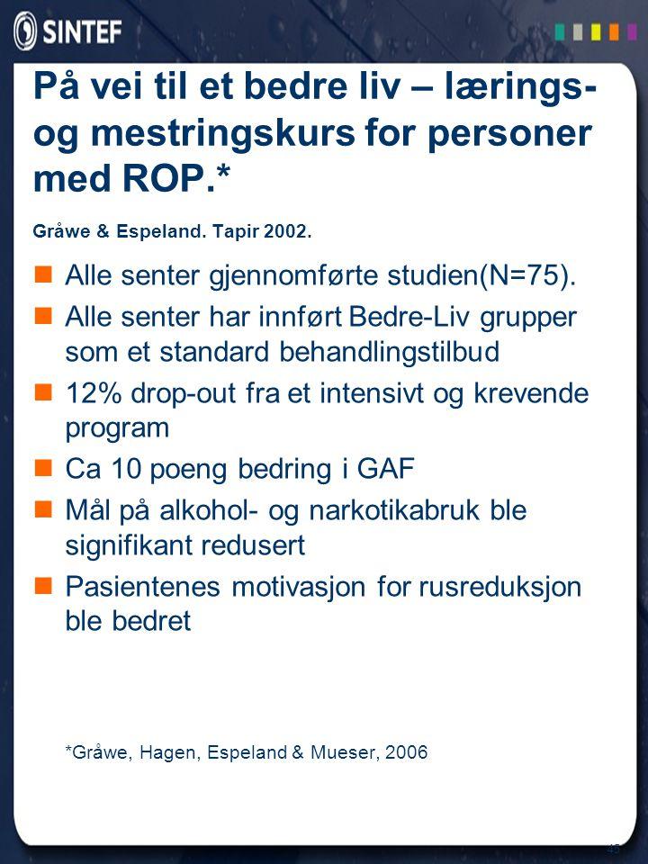 På vei til et bedre liv – lærings- og mestringskurs for personer med ROP.* Gråwe & Espeland. Tapir 2002.