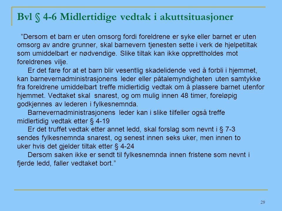 Bvl § 4-6 Midlertidige vedtak i akuttsituasjoner