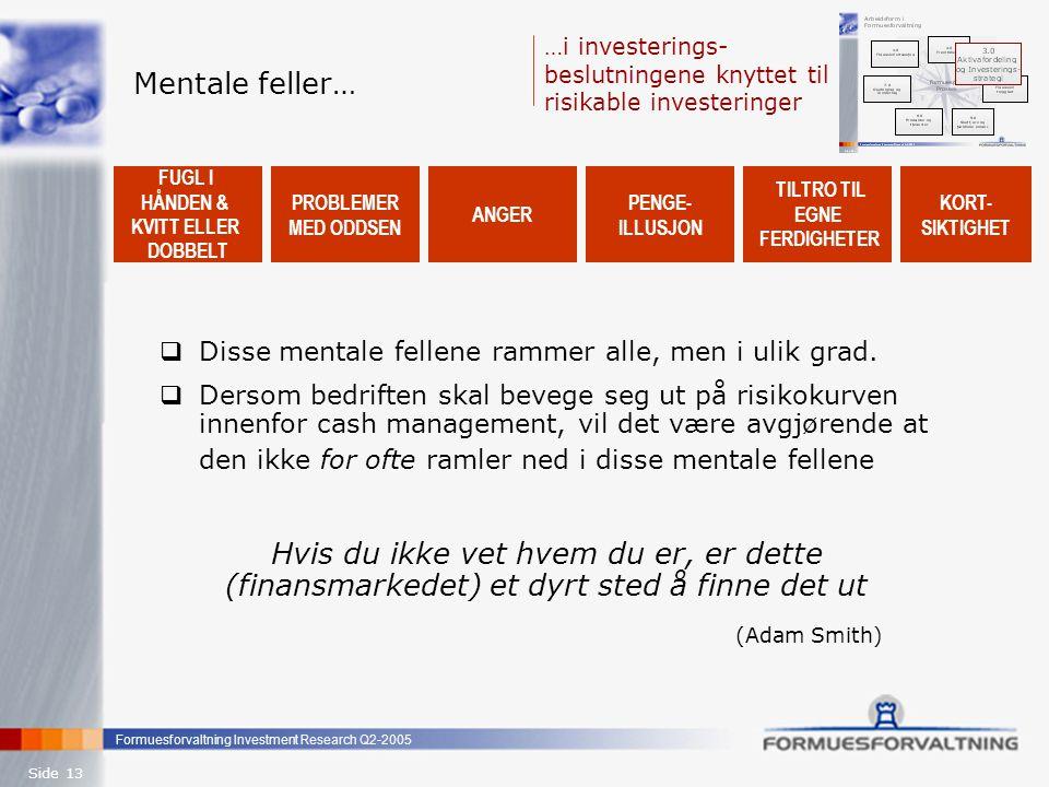 Mentale feller… …i investerings-beslutningene knyttet til risikable investeringer. FUGL I. HÅNDEN &
