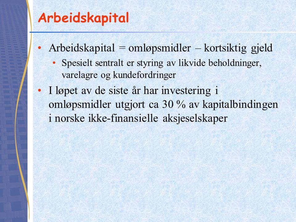 Arbeidskapital Arbeidskapital = omløpsmidler – kortsiktig gjeld