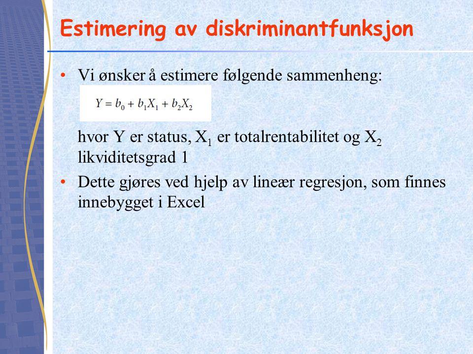 Estimering av diskriminantfunksjon