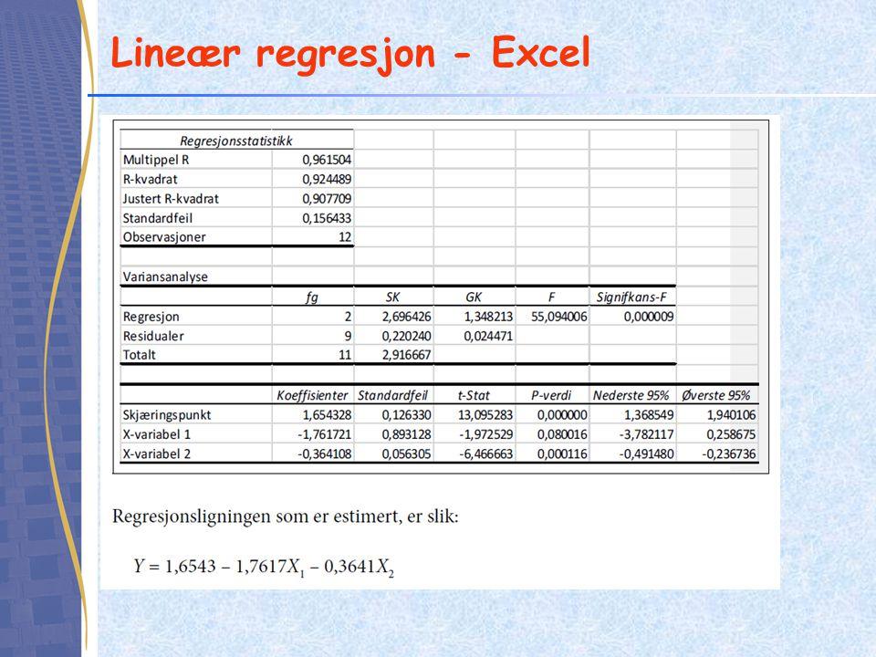 Lineær regresjon - Excel