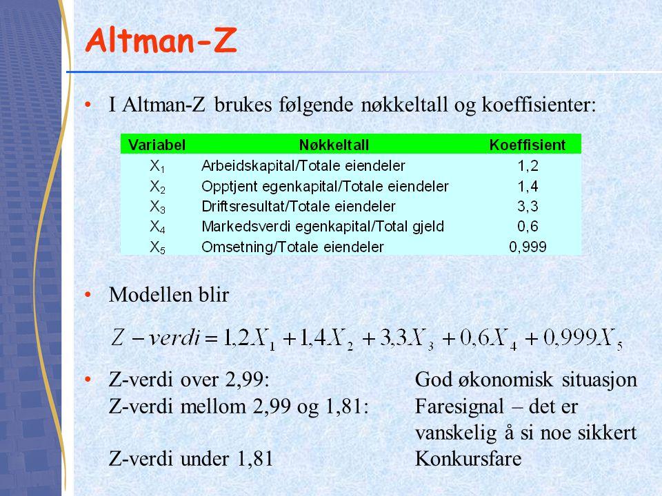 Altman-Z I Altman-Z brukes følgende nøkkeltall og koeffisienter: