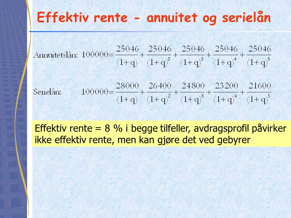 Effektiv rente - annuitet og serielån