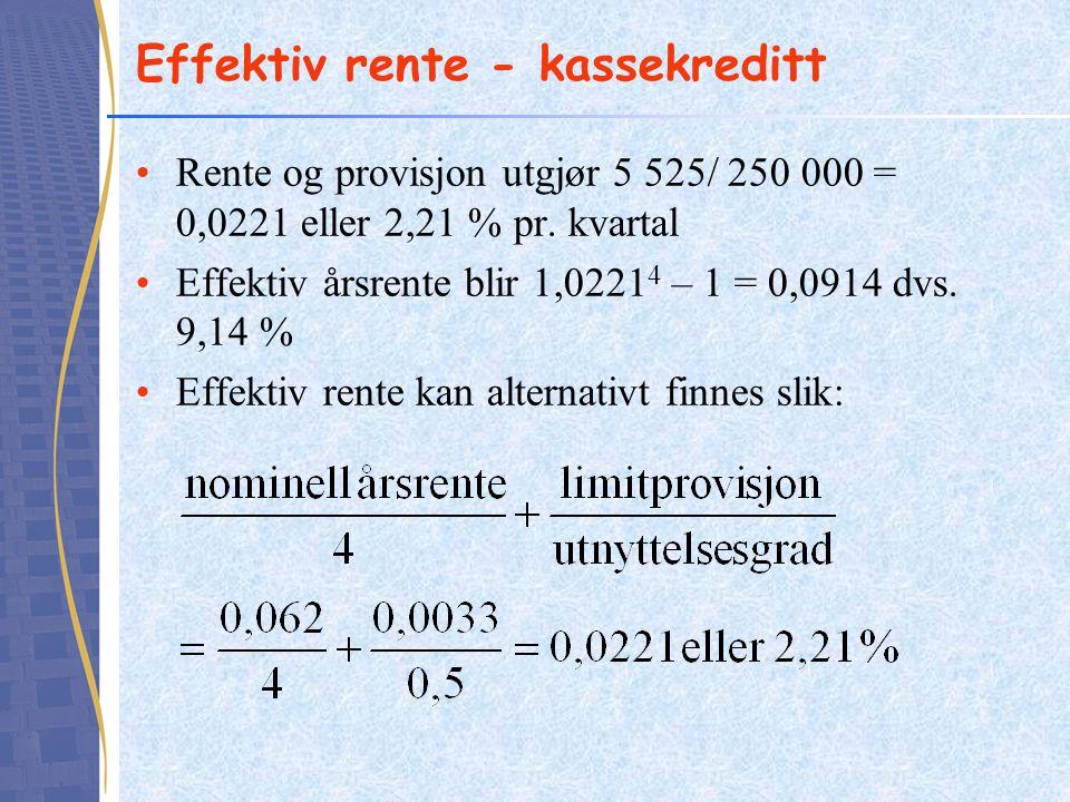 Effektiv rente - kassekreditt