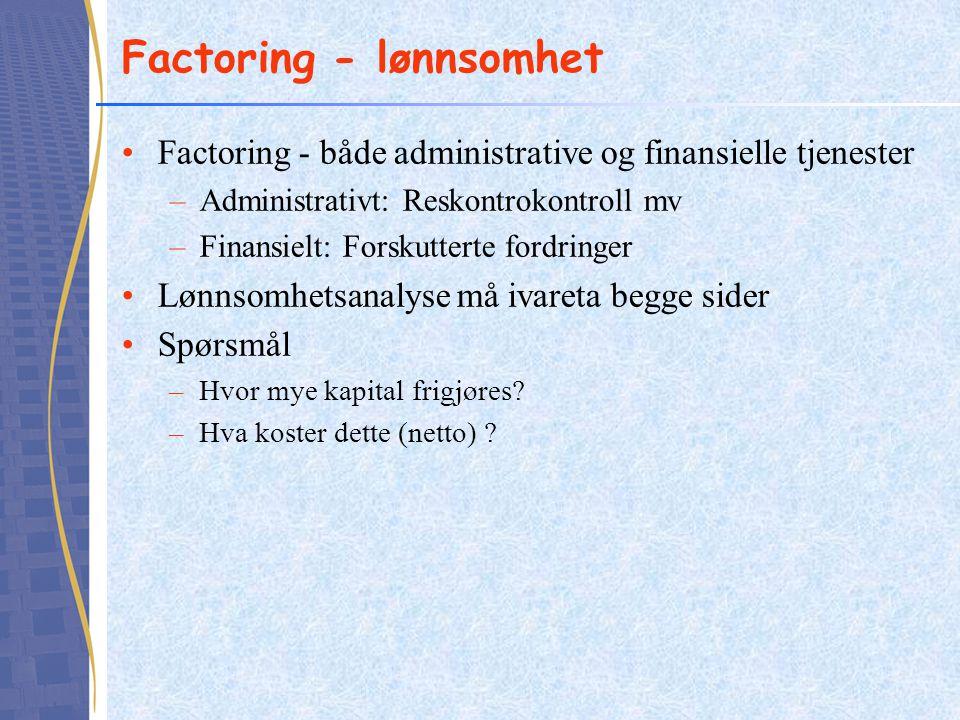 Factoring - lønnsomhet