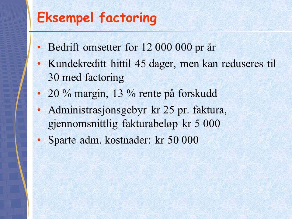 Eksempel factoring Bedrift omsetter for 12 000 000 pr år