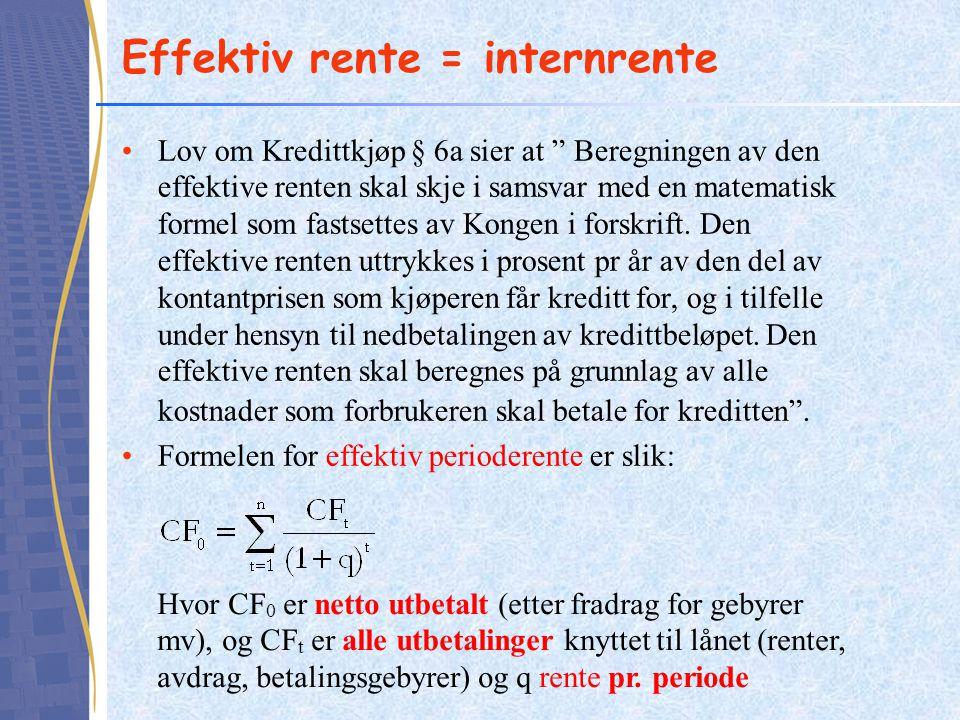 Effektiv rente = internrente