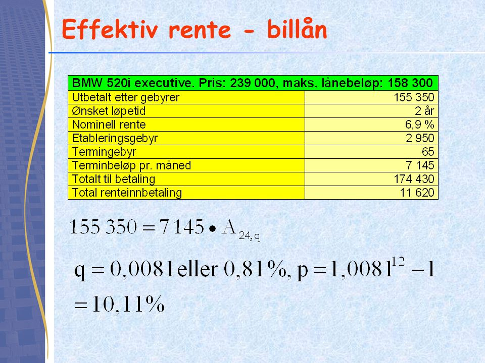 Effektiv rente - billån