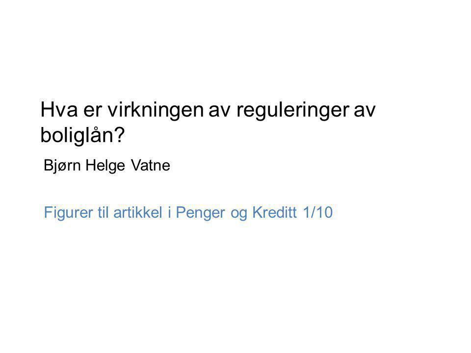 Hva er virkningen av reguleringer av boliglån Bjørn Helge Vatne