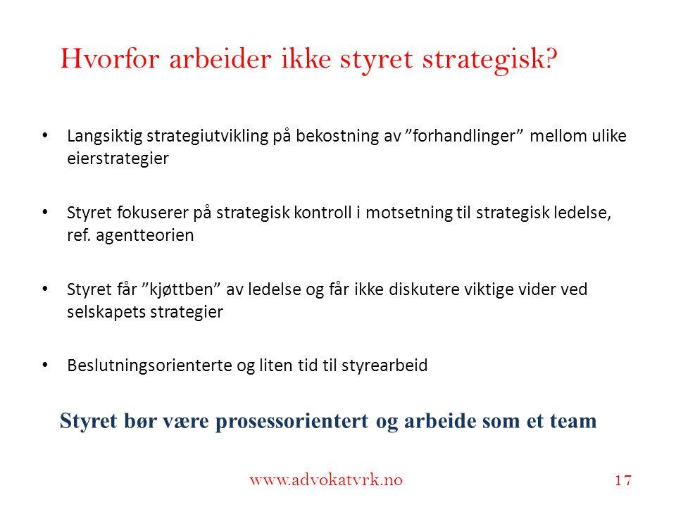 Hvorfor arbeider ikke styret strategisk
