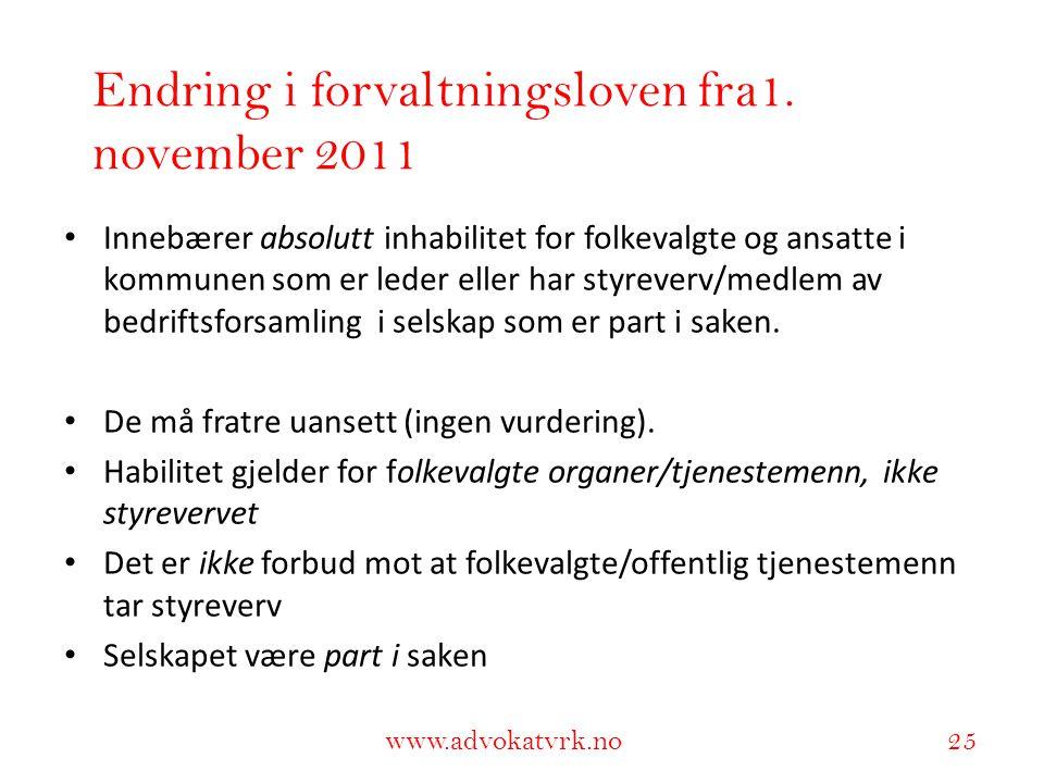 Endring i forvaltningsloven fra1. november 2011