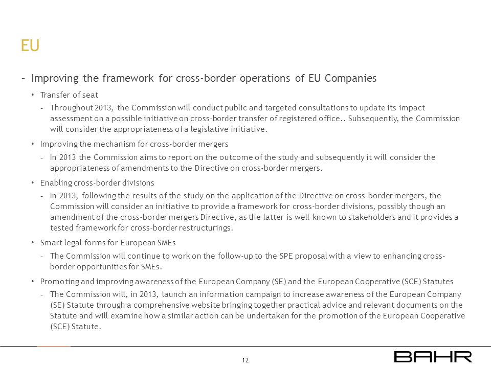 EU Improving the framework for cross-border operations of EU Companies