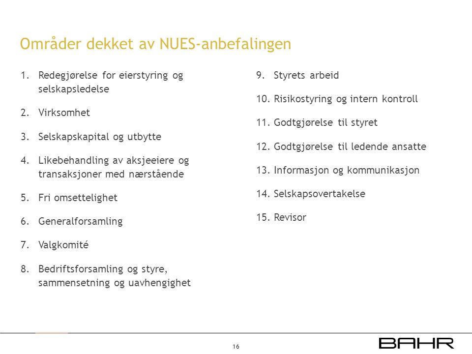 Områder dekket av NUES-anbefalingen