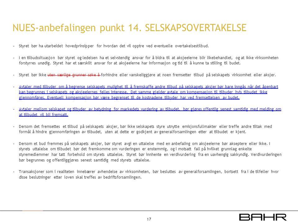 NUES-anbefalingen punkt 14. SELSKAPSOVERTAKELSE