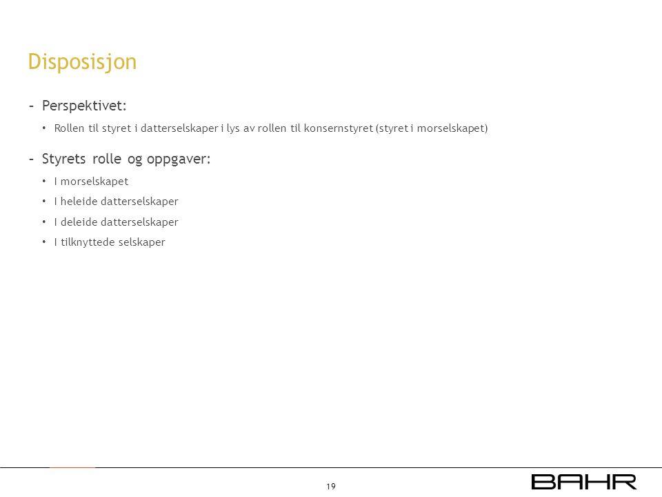 Disposisjon Perspektivet: Styrets rolle og oppgaver: