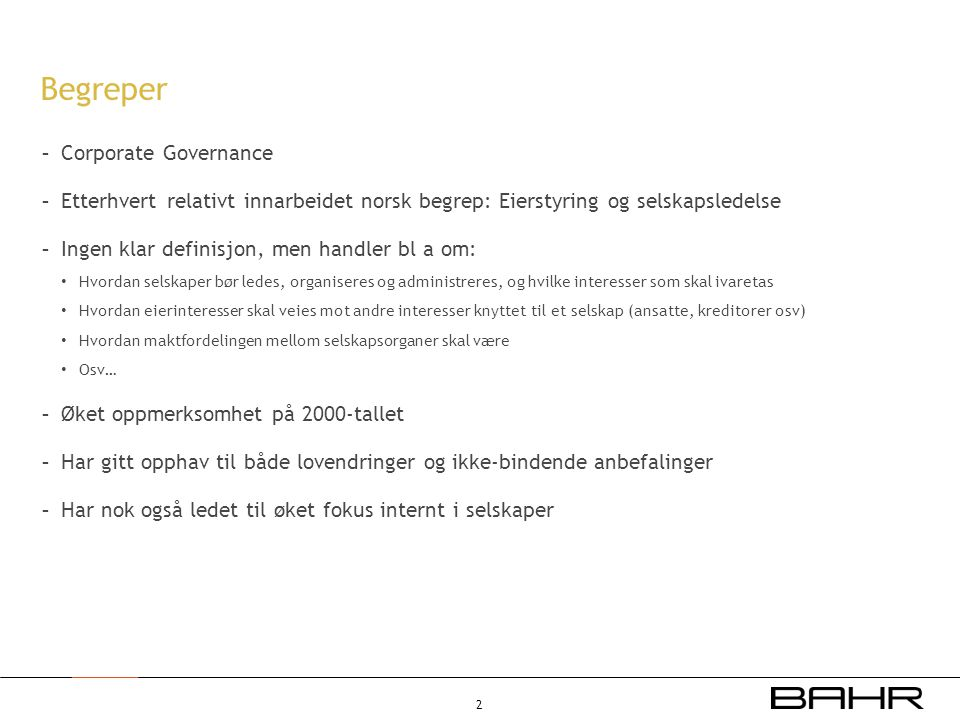 Begreper Corporate Governance