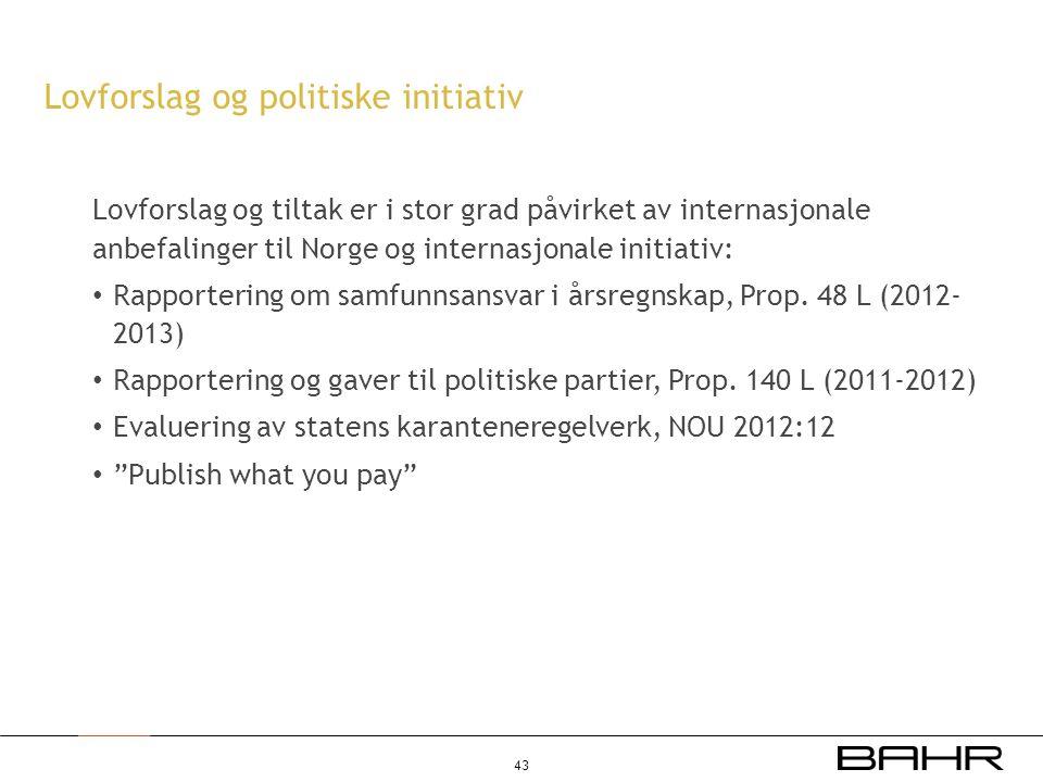 Lovforslag og politiske initiativ