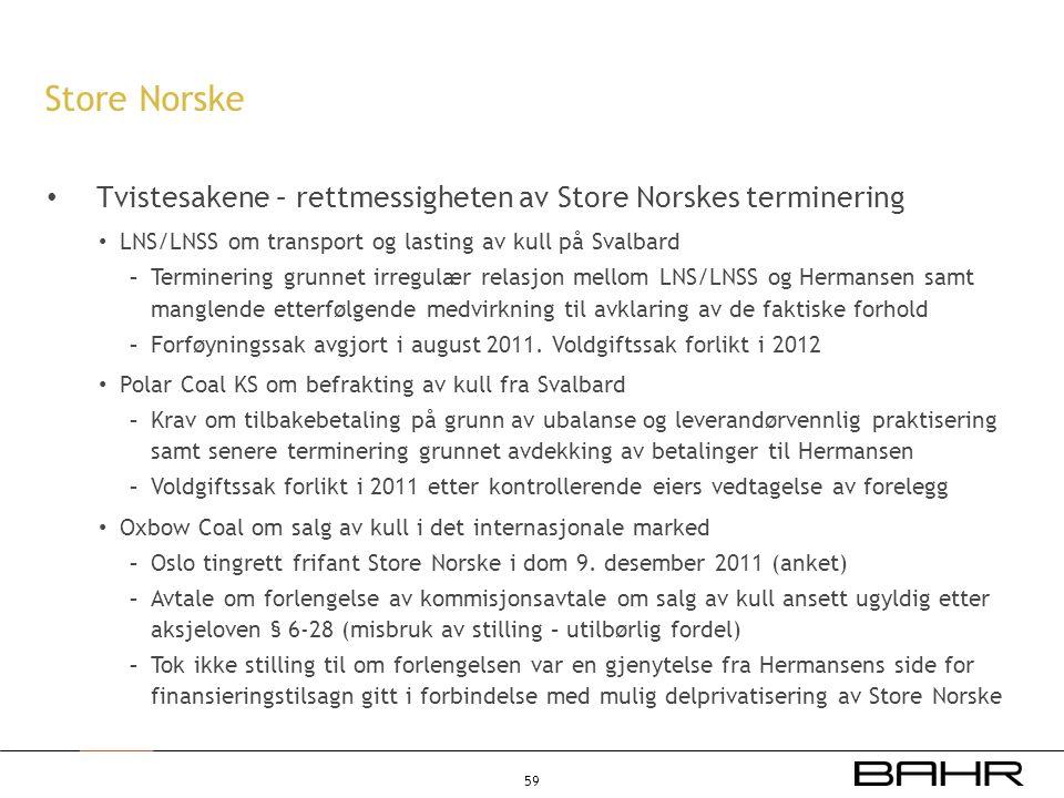 Store Norske Tvistesakene – rettmessigheten av Store Norskes terminering. LNS/LNSS om transport og lasting av kull på Svalbard.