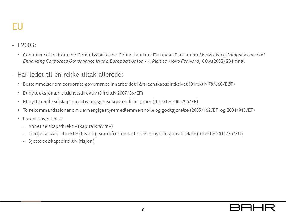 EU I 2003: Har ledet til en rekke tiltak allerede: