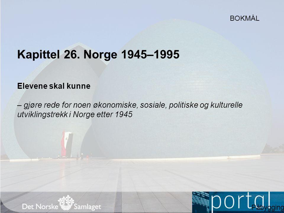 Kapittel 26. Norge 1945–1995 Elevene skal kunne
