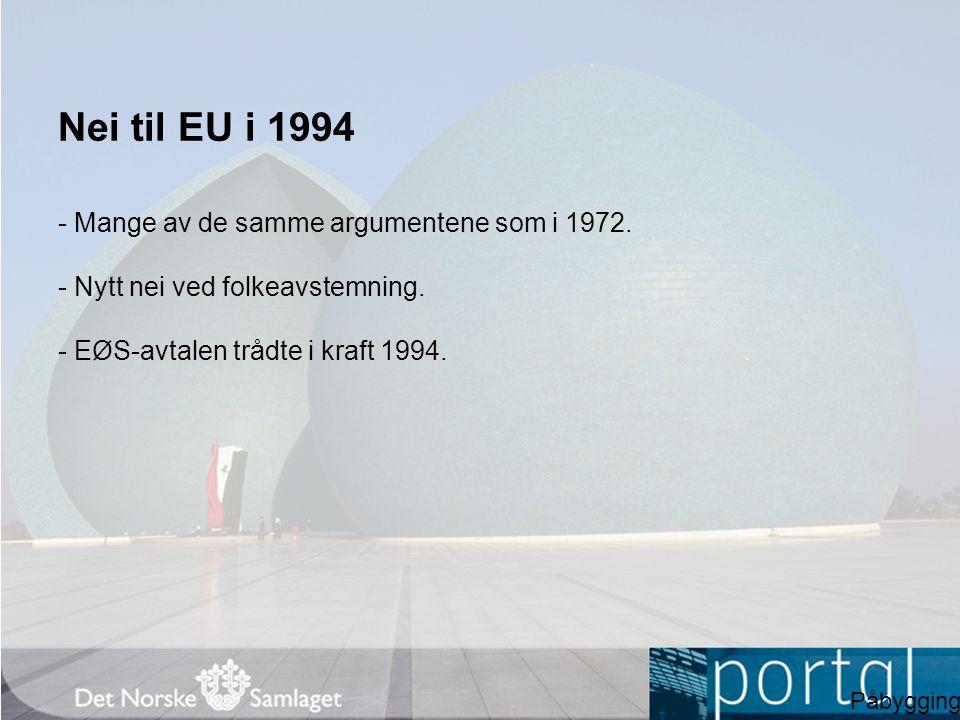 Nei til EU i 1994 - Mange av de samme argumentene som i 1972.