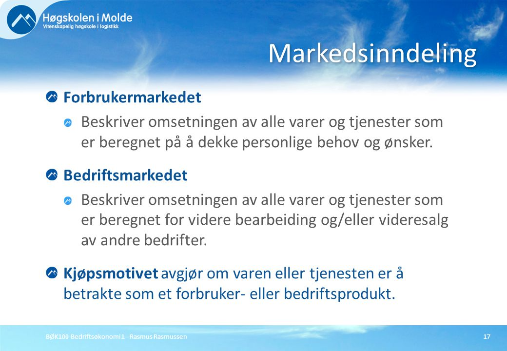 Markedsinndeling Forbrukermarkedet