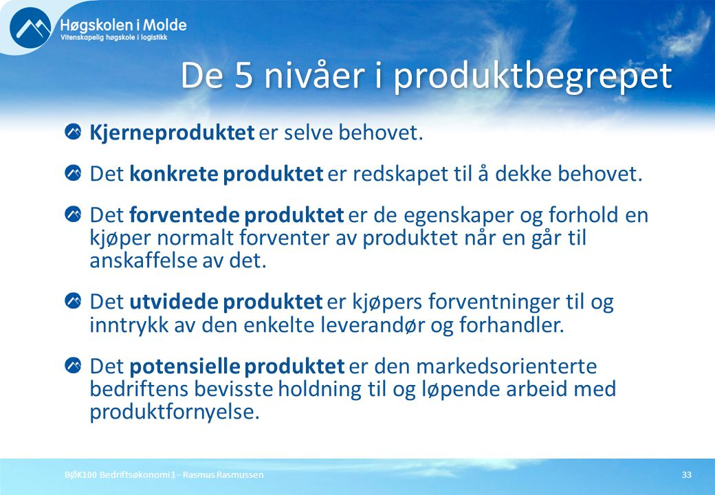 De 5 nivåer i produktbegrepet