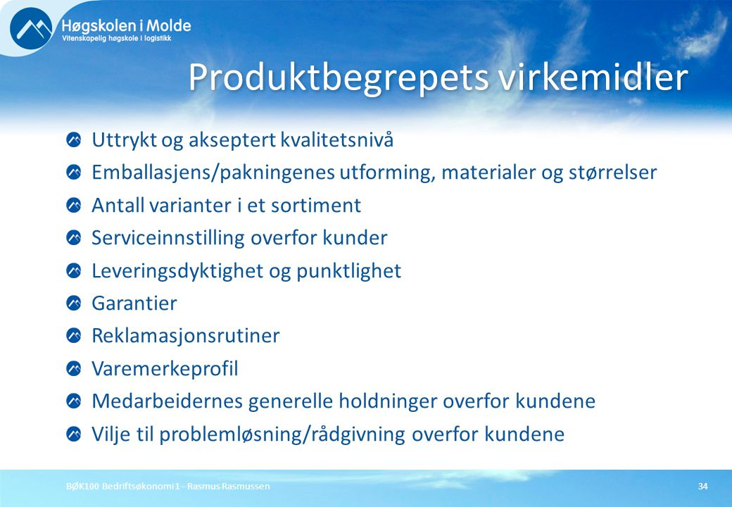Produktbegrepets virkemidler