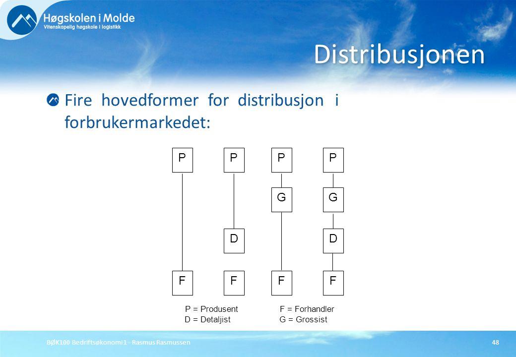 Distribusjonen Fire hovedformer for distribusjon i forbrukermarkedet: