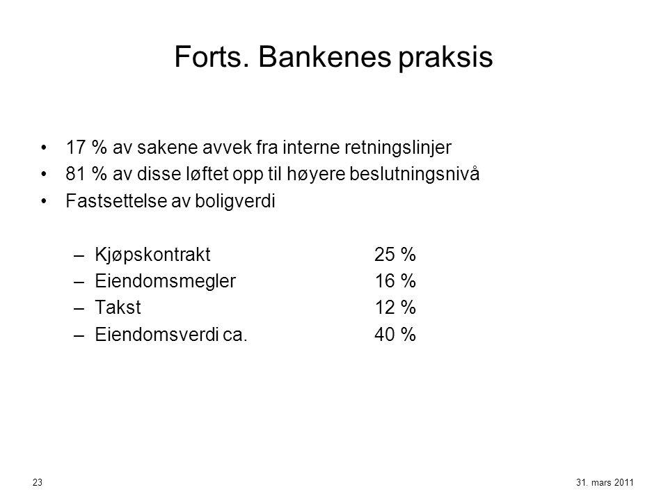Forts. Bankenes praksis
