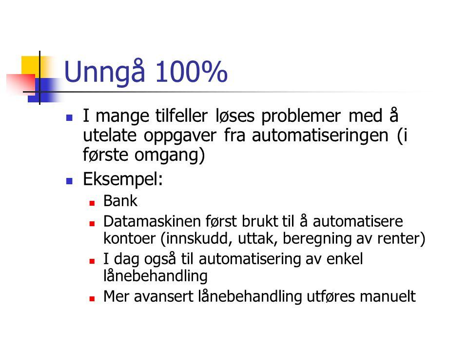 Unngå 100% I mange tilfeller løses problemer med å utelate oppgaver fra automatiseringen (i første omgang)