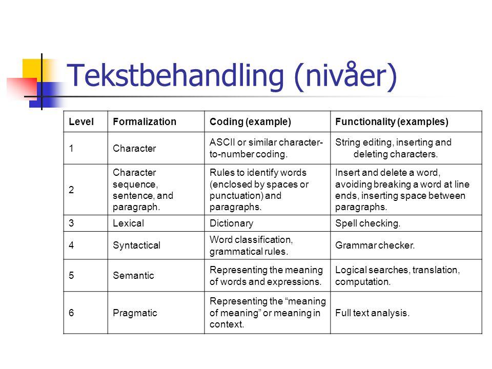 Tekstbehandling (nivåer)