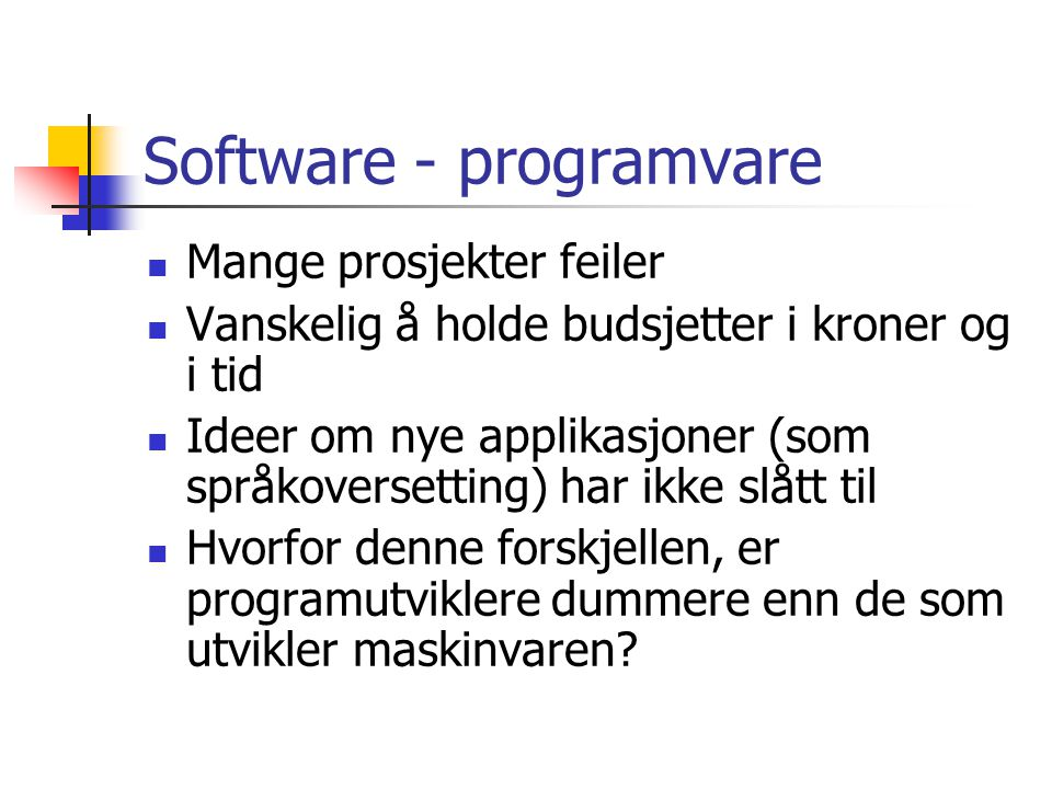 Software - programvare