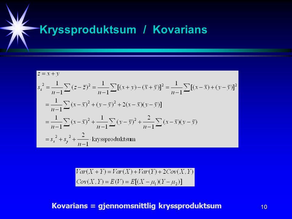Kryssproduktsum / Kovarians