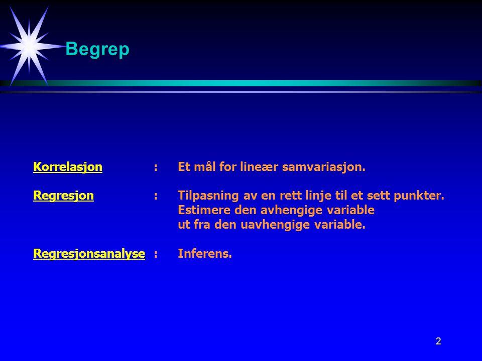 Begrep Korrelasjon : Et mål for lineær samvariasjon.