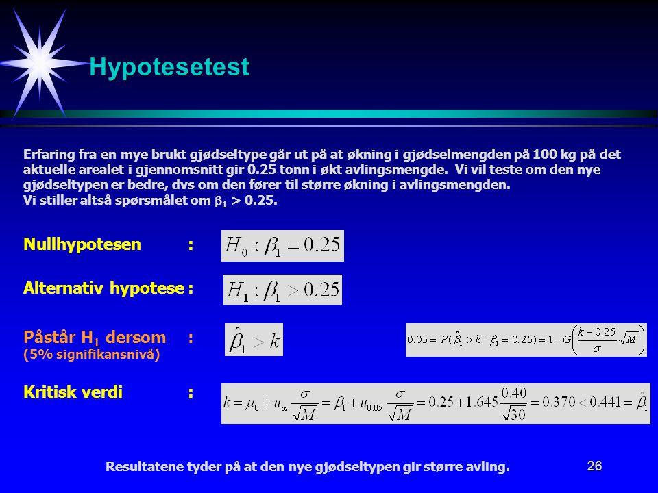 Hypotesetest Nullhypotesen : Alternativ hypotese : Påstår H1 dersom :