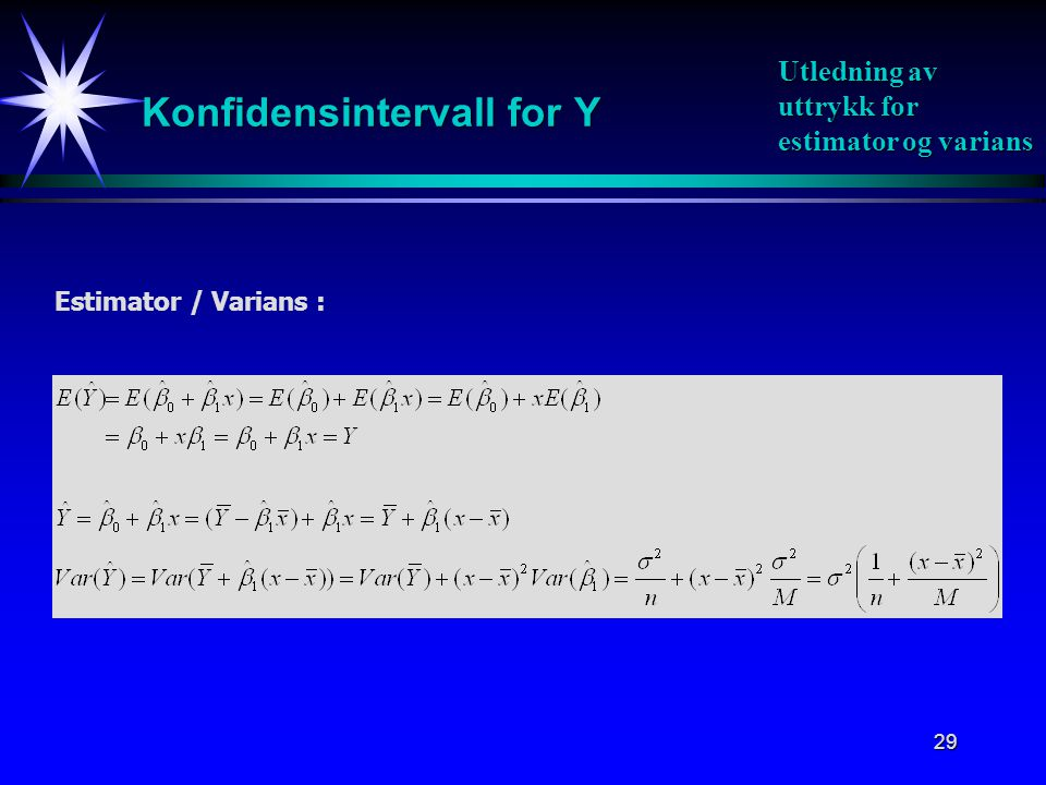 Konfidensintervall for Y