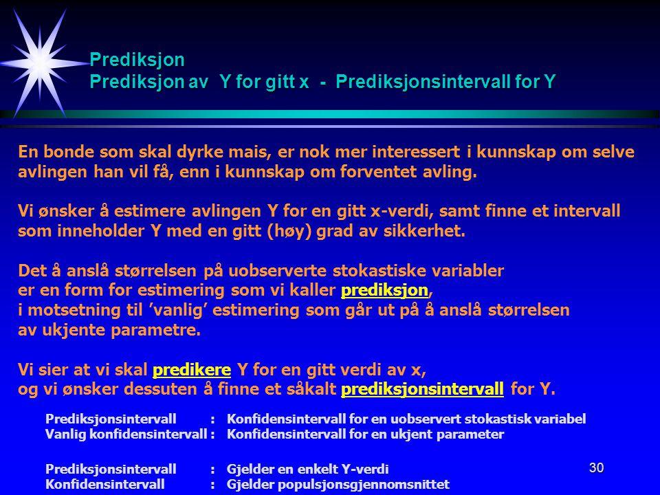 Prediksjon Prediksjon av Y for gitt x - Prediksjonsintervall for Y